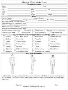 intake form for massage therapist